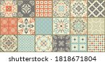 collection of 18 ceramic tiles... | Shutterstock .eps vector #1818671804