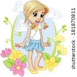 little girl in garden   Shutterstock .eps vector #181870811