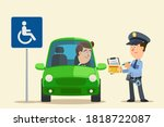a police officer issue a fine...   Shutterstock .eps vector #1818722087