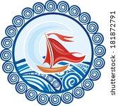 sea ship round pattern design... | Shutterstock .eps vector #181872791