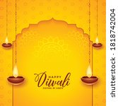 happy diwali background with... | Shutterstock .eps vector #1818742004