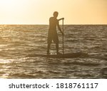 Silhouette Of Active Man Rowing ...