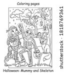 vector coloring pages happy... | Shutterstock .eps vector #1818769361