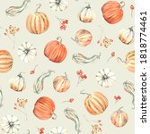 autumn pumpkins and berries... | Shutterstock . vector #1818774461