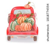 Watercolor Red Car With...