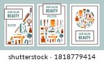 set of cards or poster for hair ... | Shutterstock .eps vector #1818779414