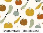 pumpkin seamless pattern.... | Shutterstock .eps vector #1818837851