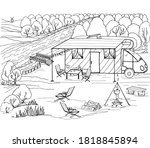 coloring book camping with a... | Shutterstock .eps vector #1818845894