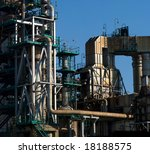 Detail of a boiler exhausting duct system of a refinery. - stock photo