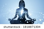 Small photo of Mindfulness meditation concept. Meditating young woman. Yoga. Concentration.