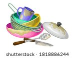 dirty utensils and dishes piled ... | Shutterstock .eps vector #1818886244