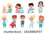 cheerful kids in medical wear...   Shutterstock .eps vector #1818886937
