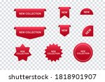 red ribbons  tags  labels.... | Shutterstock .eps vector #1818901907