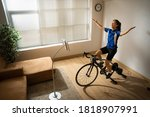 asian woman cyclist. she is...   Shutterstock . vector #1818907991