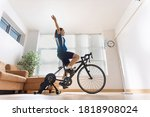 asian woman cyclist. she is...   Shutterstock . vector #1818908024