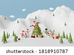 merry christmas and happy new... | Shutterstock . vector #1818910787
