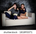two young girls looks tv at... | Shutterstock . vector #181893371