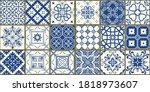 set of 18 tiles azulejos in... | Shutterstock .eps vector #1818973607
