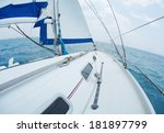 yacht sailing in the tropical... | Shutterstock . vector #181897799