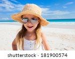 Adorable Little Girl At Beach...