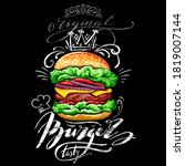 poster with burger on black... | Shutterstock .eps vector #1819007144