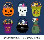 set of 6 halloween trick or...   Shutterstock .eps vector #1819024751