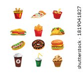 fast food menu colorfull icon... | Shutterstock .eps vector #1819041827