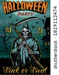 halloween party vintage poster...   Shutterstock .eps vector #1819112474