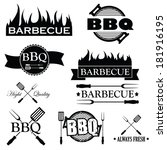 set of bbq icons isolated on... | Shutterstock .eps vector #181916195
