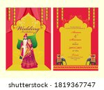 red and yellow wedding... | Shutterstock .eps vector #1819367747