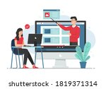 female student learning online. ...   Shutterstock .eps vector #1819371314
