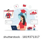 girl studying with laptop.... | Shutterstock .eps vector #1819371317