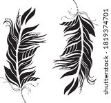 hand drawn black feather vector ... | Shutterstock .eps vector #1819374701