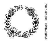 hand drawn bohemian wreath with ... | Shutterstock .eps vector #1819392587