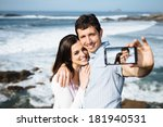 young couple on honeymoon... | Shutterstock . vector #181940531