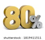 Golden 80 Percent. Isolated On...
