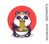 Cute Panda Eating Ramen Noodle...