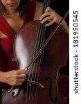 beautiful brunette playing a... | Shutterstock . vector #181950545