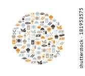 restaurant icons in circle | Shutterstock .eps vector #181953575