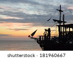 Silhouette Of A Pirate Ship...