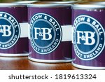Small photo of LONDON, UK - November 30, 2014. Farrow and Ball or Farrow & Ball paint tins, UK