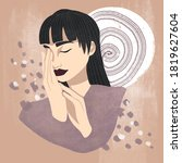 beautiful asian woman. hand...   Shutterstock . vector #1819627604