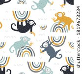 childish seamless pattern with... | Shutterstock .eps vector #1819673234