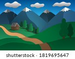 House And Path. Mountain...