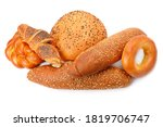 Collection of grain bread and baked goods isolated on white background