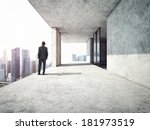 businessman standing on a top