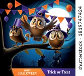 owls with wizard hat celebrate... | Shutterstock .eps vector #1819747424