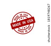 made in usa red stamp icon...
