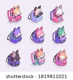 cats in backpacks stickers .... | Shutterstock .eps vector #1819811021