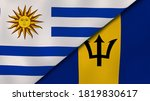 Two States Flags Of Uruguay An...